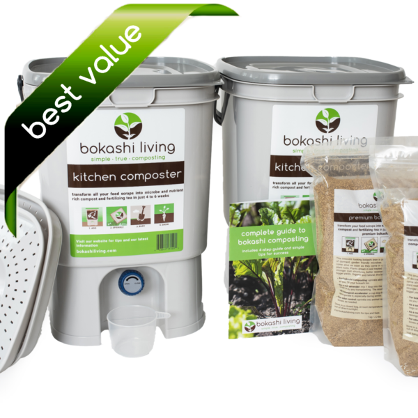 Bokashi Composting Starter Kit (2 bin, best value)