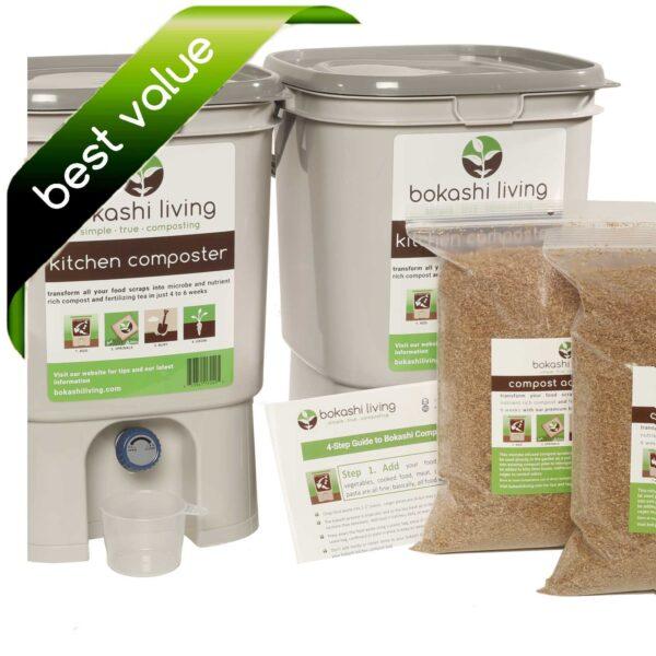Bokashi Compost Starter Kit (2 bokashi buckets)