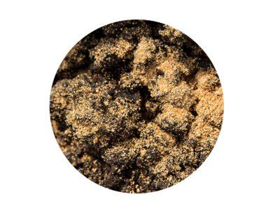 Bokashi bran sprinkled on surface of soil