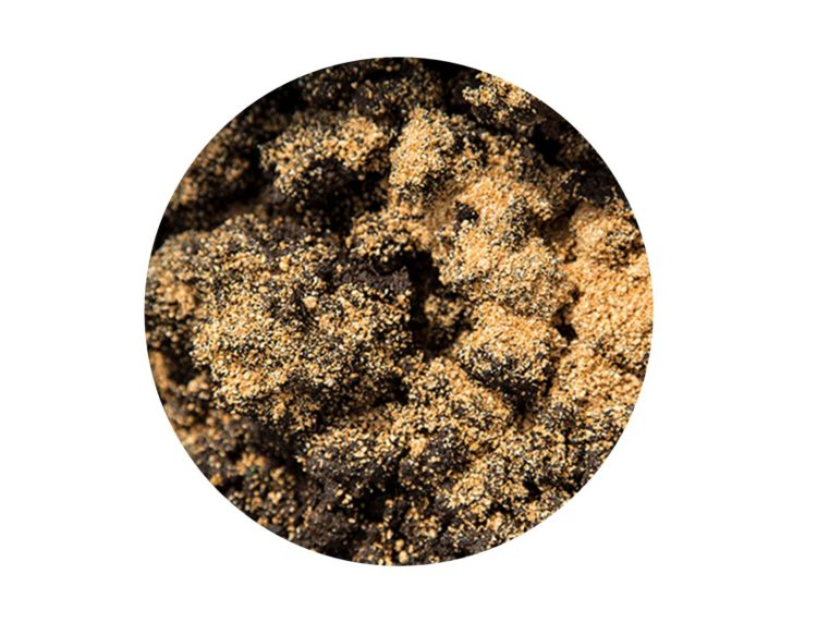 Bokashi bran sprinkled on surface of soil