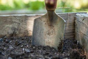 spade in soil